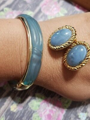 Vintage 1950's Mid Century Gold Tone Eggshell Blue Celluloid Jewelry Lot 9
