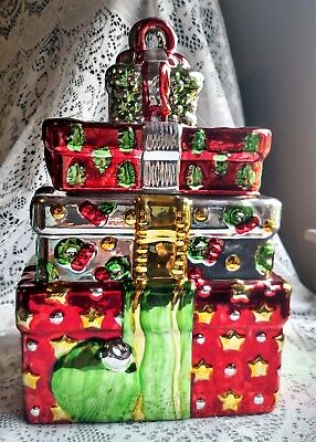 """""""Stacked Christmas Packages"""" in Chrome/Metallic Cookie Jar"""