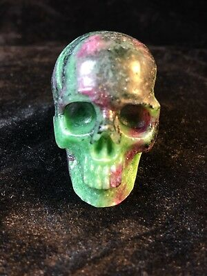 """Colorful 2.0"""" Ruby Zoisite  Crystal Carved Healing Skull"""
