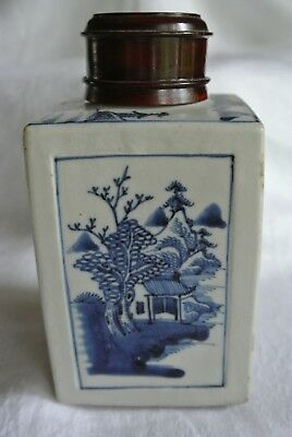 Antique Asian Chinese Porcelain Box Tea Caddy Blue Artemisia Leaf Mark Jiaqing