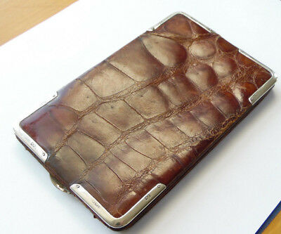 Antique Sterling Silver & Crocodile Skin Wallet, Robert Marshall, London 1913