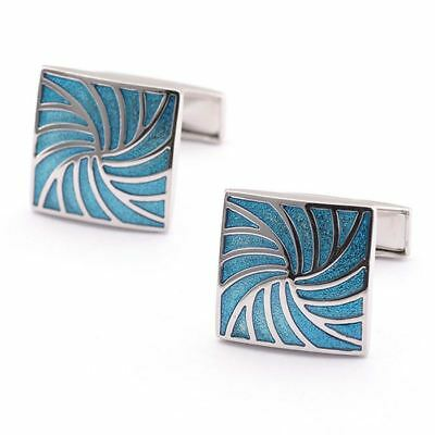 Cufflinks Blue Lattice Silver Square Mens Wedding Party Shirt Cuff Links UU15