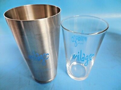 Milagro Boston Shaker Glass & Stainless Bar Cocktail Mixing Set (Box of 4)