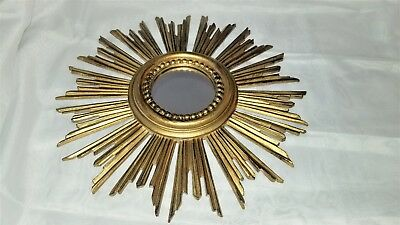 Vintage Syrocco Wall Mirror Gold Starburst Pretty !!  Excellent!  Made In Italy