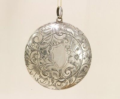 Antique Foster & Bailey Sterling & Gilt Powder Compact Pendant Chatelaine