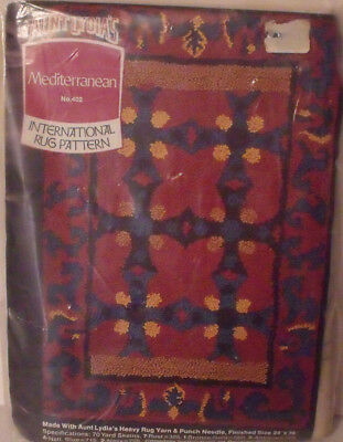 """AUNT LYDIA'S Mediterranean PUNCH needle RUG foundation 24"""" by 36"""" printed canvas"""
