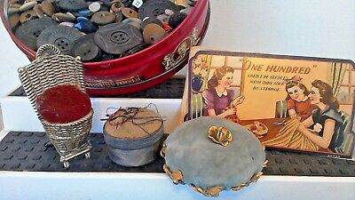 3 VINTAGE PIN CUSHIONS 100 Gold Eye Needle Pk, Tin of Buttons~ Sewing Notion LOT