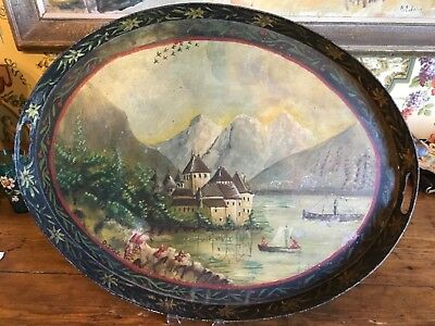 Antique French Tole Painted Tray 18th Century Toleware