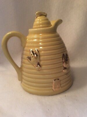 Vintage Yellow Bee Hive Honey Jar Pot Hoss USA
