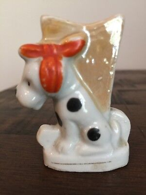 Dalmation Toothpick Match Holder Tiny Vase Made In Japan Dog Red Bow Lusterware