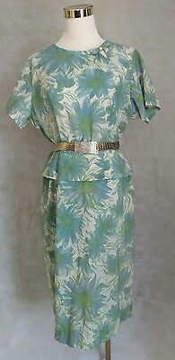 M L Blue Green Watercolor Print Shift Belted Dress Short Sleeve