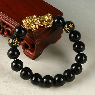 Exquisite Obsidian Bead Handwork Carved Brave Troops Bracelet CC1171
