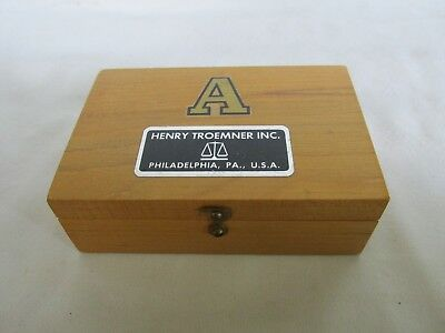 SCALE WEIGHT SET, APOTHECARY, Henry Troemner, in Wood Box