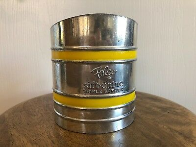 Vintage Foley Sift Chine Triple Screen Flour Sifter Yellow Stripes - Cute Retro!