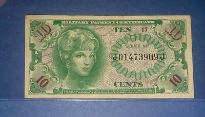 10 cents US  Military Payment Certificate 1965-68 Series 641