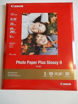 """Canon Photo Paper Plus Glossy II PP-201 New Sealed 20 Sheets 8"""" x 10"""""""