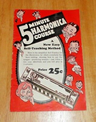 Vintage Soft Cover 5 Minute Harmonica Course Booklet