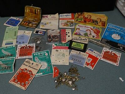 ❤️ Vintage Lot Sewing Notions from 50's through 70's, Kits, Snaps, Hooks, Needle
