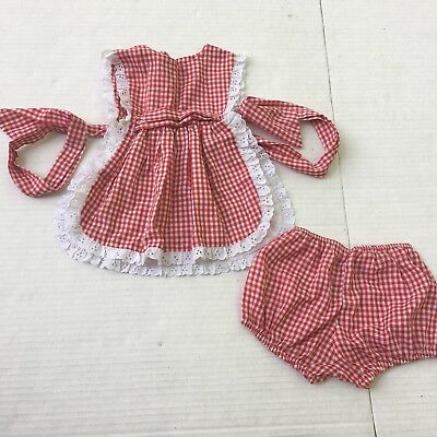 Vtg Pinafore Top Baby 2t Girl Set Bloomers 2 Piece Plaid Red Gingham Lace Ruffle