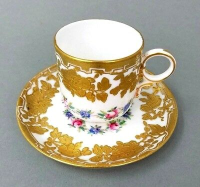 Ovington Brothers Teacup Demitasse TEA CUP Saucer Gold Hammersley Co Antique NY