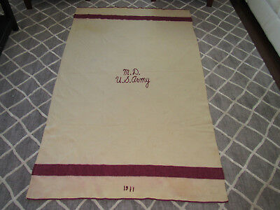 M.D. U.S. Army Military Wool Blanket With 1911 Stitched Cream Burgundy