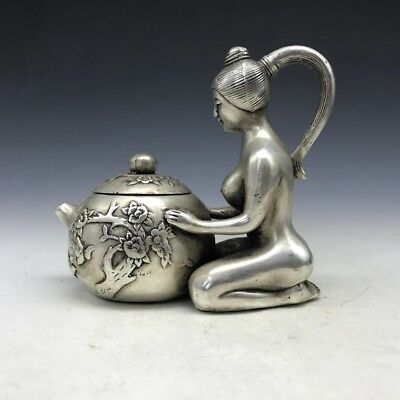 Chinese ancient Tibetan silver wine pot pure hand-carved beautiful lady image.