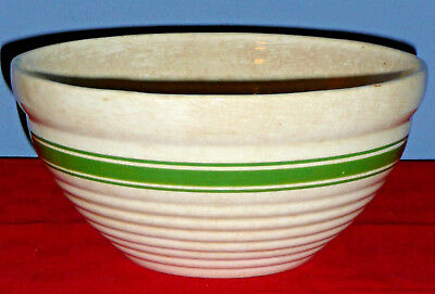 "Vintage Large 10"" Mixing Bowl – Cream Pottery with Green Stripes"