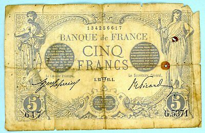France 5 Francs 1909-12 Issue dated 23 May 1915 ==> Rare Note <==