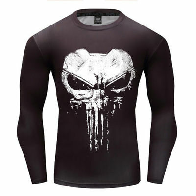 Punisher The Skull Screen Printed Body Fit T-Shirt Long Sleeve Gym Bodybuilding