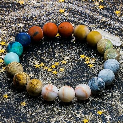 Universe Premium Space Planets Solar System Natural Stone Beads Bracelet Gift