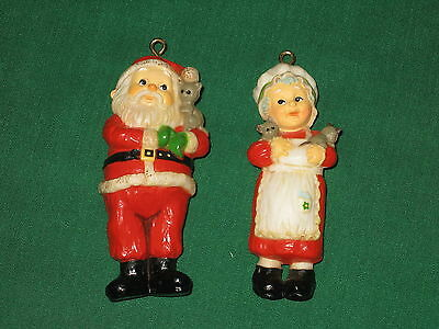 Vintage 1975 Hallmark Keepsake Ornaments Santa and Mrs. Santa Claus