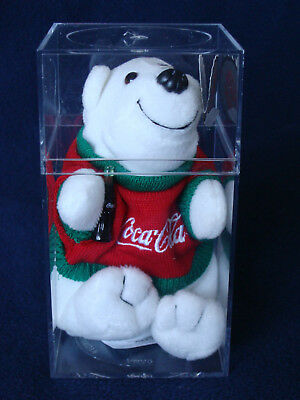 Coca Cola Bean Bag Plush Polar Bear in Red/Green Sweater, in Plastic Case - 1997