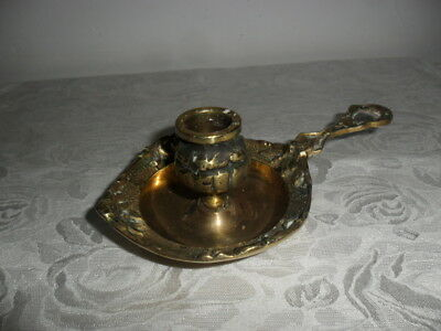 Vintage Ornate Solid Brass Candlestick Holder with Handle - Heavy & Beautiful