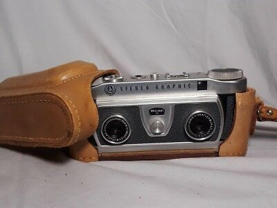 GRAFLEX STEREO 3D GRAPHIC CAMERA & GRAPHIC VIEWER w/ leather case working