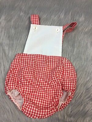 Vintage Baby Red White Gingham Plastic Lined Sunsuit Romper