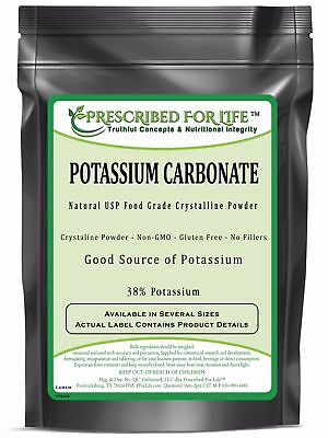 Potassium Carbonate - Natural USP Food Grade Crystalline Powder, 1 kg