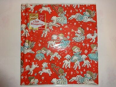 2 Sheets NOS Vintage Dennison Christmas Gift Wrap, New in Package -Heavyweight-