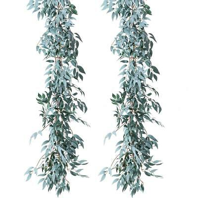 2pcs Artifical Gray Willow Leaves Garland Backdrop Wall Silk Wedding Party Decor