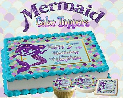 Mermaid Birthday Cake Topper Edible Paper Sugar Sheet Cupcakes Picture Sticker