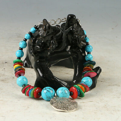 Natural Turquoise & Tibet Silver Handwork Colorful Fashion Bracelet  RS021.b