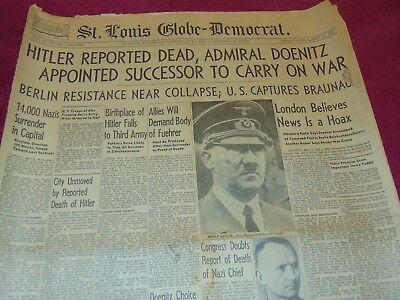 May 2, 1945 St. Louis Newspaper: Wwii Adolf Hitler Dead
