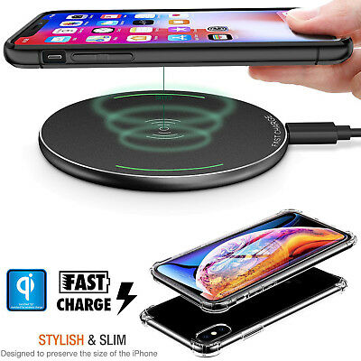 Qi Wireless Charger Charging Pad+Soft Clear Case For Apple iPhone X XR XS Max 8+