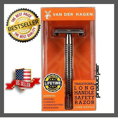 Double Edge Long Handle Safety Razor  Includes: 5 Double Edge Coated & Stainless