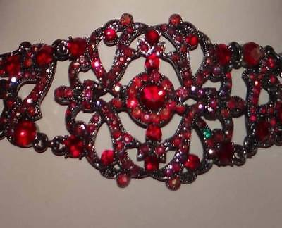 VINTAGE Victorian style Antique Ruby Red WIDE Austrian Crystal Choker filigree