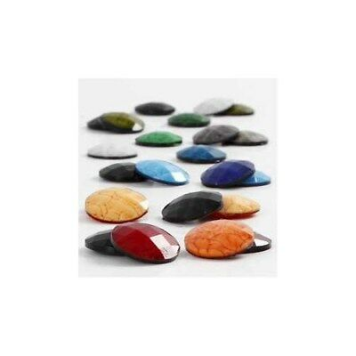 Cabochons, D: 14 mm, thickness 4 mm, asstd colours, 300mixed [HOB-68018]