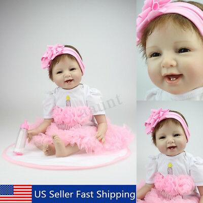 22'' Handmade Lifelike Newborn Reborn Baby Girl Doll Silicone With Clothes USA