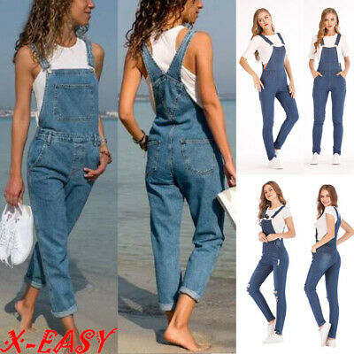 Women's Ladies Full Length Denim Dungarees Slim Fit Jeans Overall Jumpsuit Pants