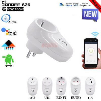Sonoff S26/S20 TFTTT WIFI Smart Power Socket Wireless Remote Timer US/EU/UK