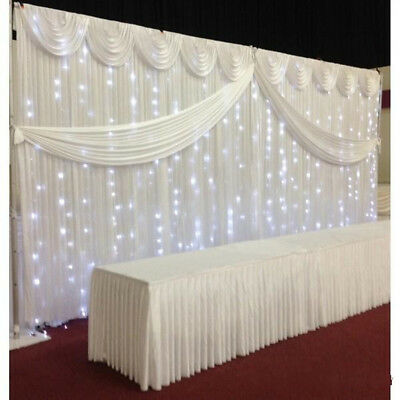 White Wedding Backdrop Curtain Stage Background With/Without Swag 3M x 3M