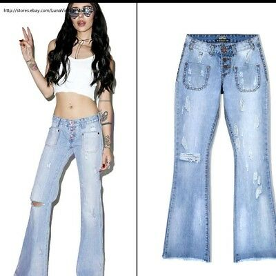 7ce8738eee9e Women's Boyfriend Wide Leg Flare Jeans Mom Denim ripped jean destroyed Pants